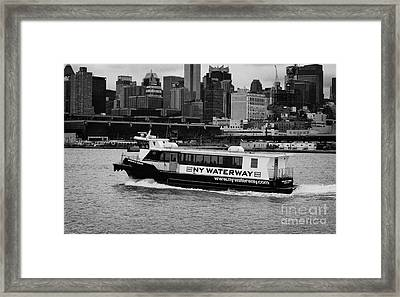 Ny Waterway Ferry Douglas B Gurian From New Jersey To New York City Framed Print