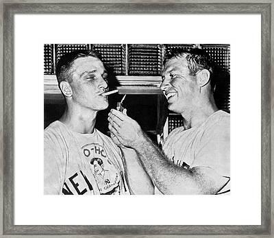Ny Yankee Sluggers Framed Print by Underwood Archives