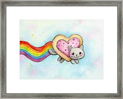 Nyan Cat Valentine Heart Framed Print by Olga Shvartsur