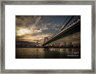 Nyc - Manhatten Bridge - Hdr- Sun Framed Print by Hannes Cmarits