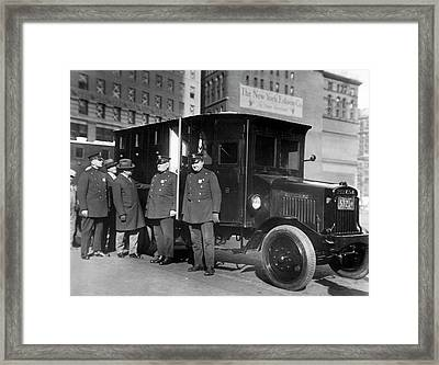 Nyc Armored Cars Framed Print by Underwood Archives