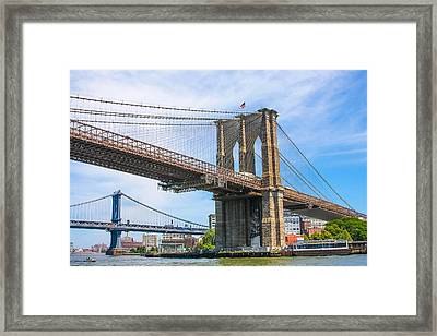 Nyc Bridges To Brooklyn Framed Print