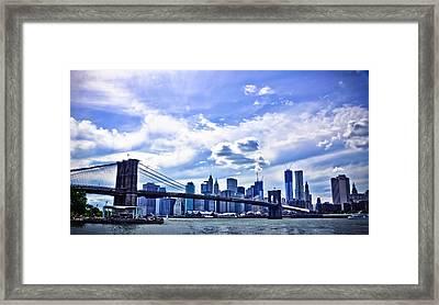 Nyc Brooklyn Bridge City Framed Print by Alex Pochinok