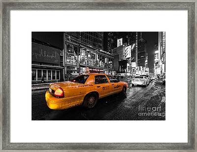Nyc Cab Times Square Color Popped Framed Print by John Farnan