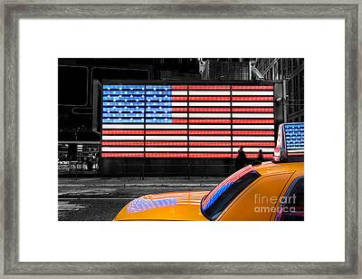 Nyc Cab Yellow Times Square Framed Print