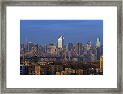 Nyc Citicorp Center And Queensboro Bridge Framed Print by Juergen Roth