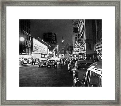 Nyc great White Way Outage Framed Print by Underwood Archives