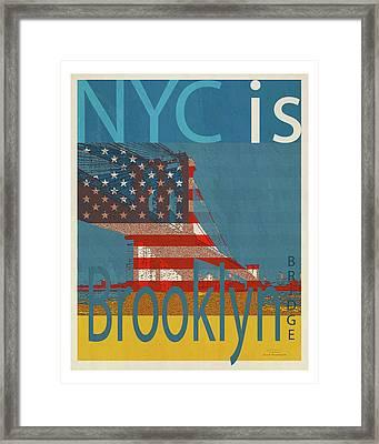 Nyc Is Brooklyn Bridge Framed Print by Joost Hogervorst