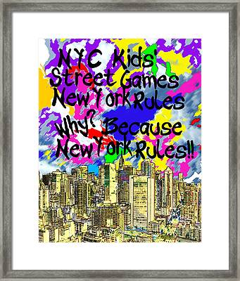 Nyc Kids' Street Games Poster Framed Print by Bruce Iorio