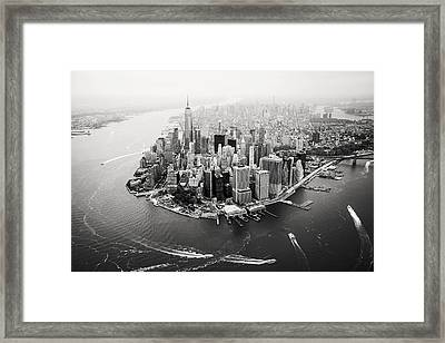 Nyc Manhattan Aerial Framed Print by Nina Papiorek