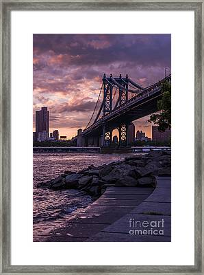 Nyc- Manhatten Bridge At Night Framed Print by Hannes Cmarits