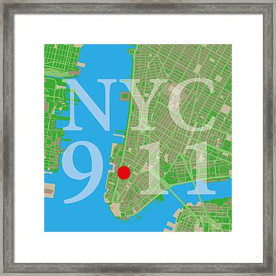 Nyc Map Twin Towers 9/11 Framed Print by Big City Artwork