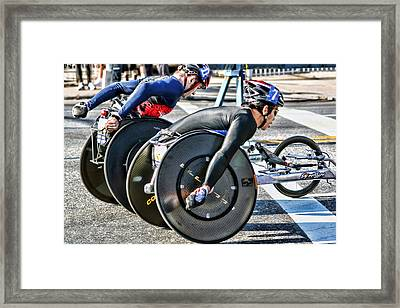 Nyc Marathon Wheelchair Racers Framed Print