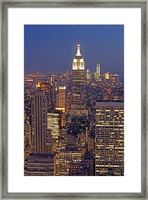 Nyc Midtown And Downtown Framed Print by Juergen Roth