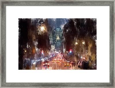Nyc Night Traffic Framed Print by Yury Malkov