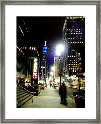 Nyc Night Walk Framed Print by Li   van Saathoff