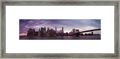 Nyc Panorama Framed Print by Nina Papiorek