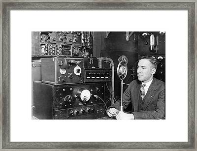 Nyc Police Radio System Framed Print by Underwood Archives