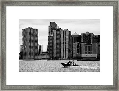 Nyc Police River Boat Going Past New Jersey Nj Shoreline  Framed Print by Joe Fox