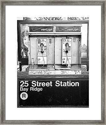 Nyc Public Phones Framed Print by Valentino Visentini