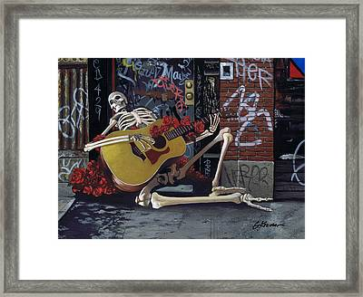 Nyc Skeleton Player Framed Print by Gary Kroman