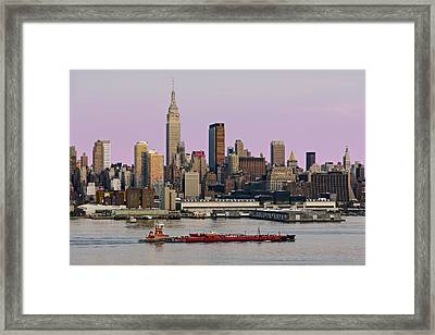 Nyc Skyline And Atb Last Light Framed Print by Susan Candelario