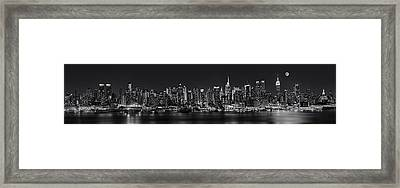 Nyc Skyline Full Moon Panorama Bw Framed Print by Susan Candelario