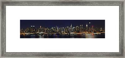 Nyc Skyline Full Moon Panorama Framed Print by Susan Candelario