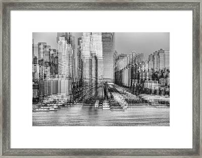 Nyc Skyline Shapes Bw Framed Print by Susan Candelario