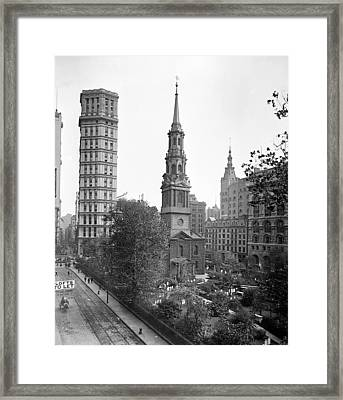 Nyc, St. Paul Building And Episcopal Framed Print