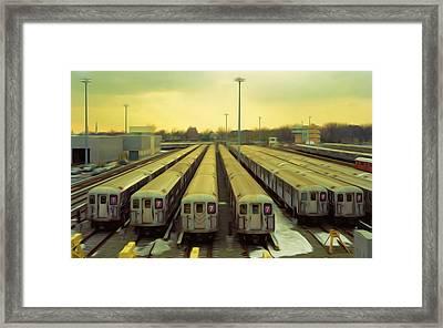Nyc Subway Cars Framed Print