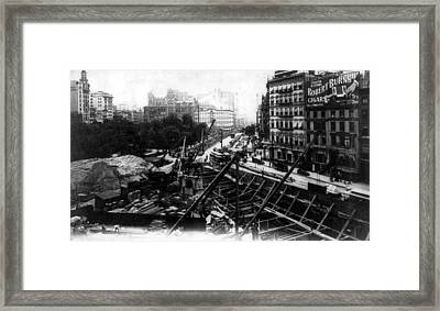 Nyc Subway Construction, Union Square Framed Print