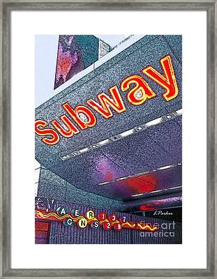 Nyc Subway Framed Print by Linda  Parker