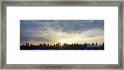 Nyc Sunrise Panorama Framed Print