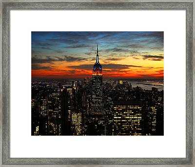 Nyc Sunset Framed Print