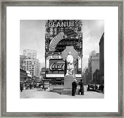 Nyc, Times Square, Father Duffy Statue Framed Print