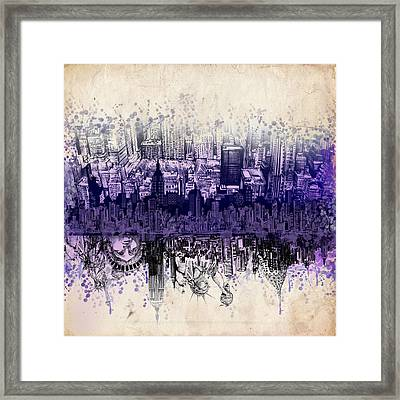 Nyc Tribute Skyline 2 Framed Print