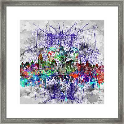 Nyc Tribute Skyline 4 Framed Print