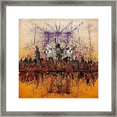 Nyc Tribute Skyline 6 Framed Print