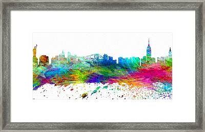 Nyc Watercolor Skyline Framed Print