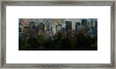 Framed Print featuring the digital art Nyc With Trees by Bruce Rolff