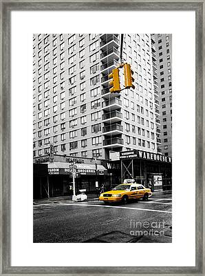 Nyc  Yellow Cab At The Crossroad Framed Print by Hannes Cmarits