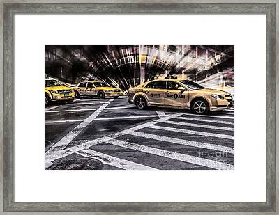 Nyc Yellow Cab On 5th Street - White Framed Print by Hannes Cmarits