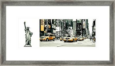 Nyc Yellow Cabs And Lady Liberty -  Ck1 Framed Print