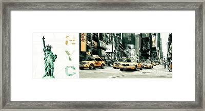 Nyc Yellow Cabs And Lady Liberty  Framed Print