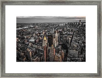 Nycs Golden Tops Framed Print by Hannes Cmarits