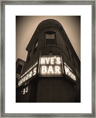 Nye's Bar Sepia V.2 Framed Print by Heidi Hermes