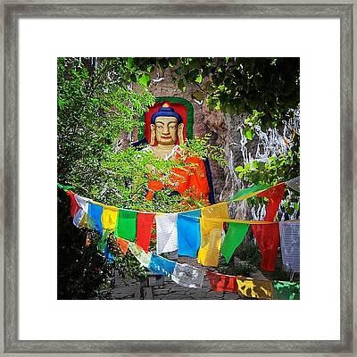 Nyetang Buddha And Prayer Flags Framed Print