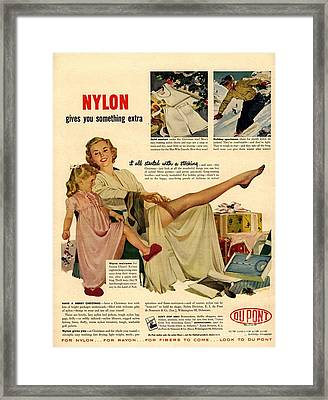 Nylon By Dupont 1940s Usa Nylons Framed Print by The Advertising Archives