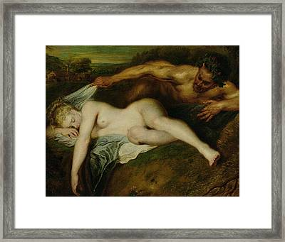 Nymph And Satyr Framed Print by Jean Antoine Watteau